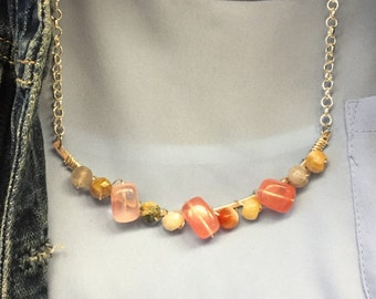 Pink and Earthy Beaded and Wire wrapped Necklace