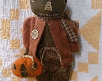 Primitive Pumpkin Man Fall Halloween Folk art Faap Hafair team Team Haha