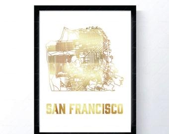 San Francisco, California - Gold Foil Map
