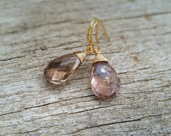 Ametrine Earrings, Natural Large Ametrine Drops Wire Wrap Setings,  14K Gold Filled Jewelry, Handmade Purple Yellow Gemstone Earrings