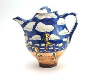 Studio Pottery Teapot, Hand Painted Blue & Brown Glaze, French Confit Style, Design of Jogger on Beach,  Signed