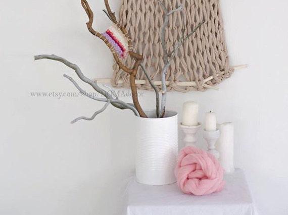 hnliche artikel wie wand dekor hand gestrickte wandbeh nge 43 x 21 sand farbe canvas auf etsy. Black Bedroom Furniture Sets. Home Design Ideas