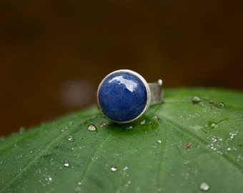 Genuine Tanzanite Ring with Brushed Sterling Silver and Adjustable Band
