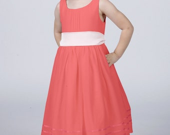 Coral Flower Girl Dress with Complimentary Sash available in all colours by Matchimony