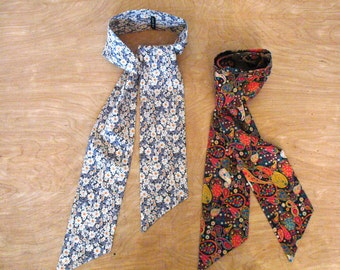 Liberty Print Scarf, Skinny Scarf, Double Sided Scarf, Long Scarf, Wrap & Tie Liberty Scarf in 5 Prints. Ascot. Liberty London. MadeToOrder