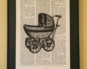 Vintage Baby Carriage Illustration Page Art; Dictionary Print; Vintage; Stroller