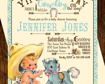 Cowboy Baby Shower Invitations Custom Printed Vintage Western Blue Pony Sunflowers