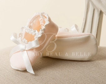 Avery Booties, Pink Cotton Booties with Ivory Lace