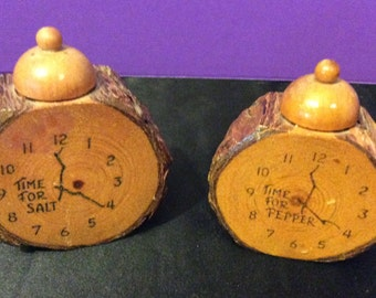 Wooden Alarm Clock Branch Salt and Pepper Shakers Monterey California