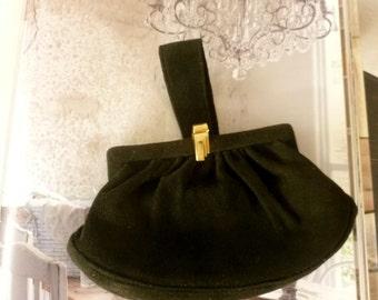 Vintage Night Clutch. 60's Party Black Suede Clutch. Wedding Bag Purse