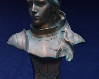 Statue bust - St JOAN of ARC - Patina finish modern and antique green Bronze