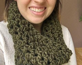 Olive green crochet cowl
