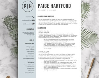 modern resume template for word and pages cover letter 1 2 3 page resumes included professional resume template instant download