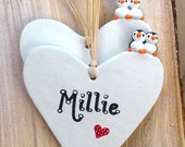 Personalised penguins, miniature penguins, pottery hearts, name gift
