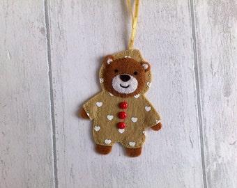 Felt teddy bear hanger