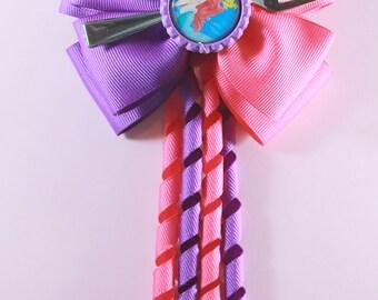Little Mermaid Ponytail Hair Bow with Kroker Streamers