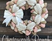 Crochet Lace Burlap Wreath Vintage Shabby Chic Door Wreath Summer Spring Springtime Chatsworth Ranch Chic Shabby Chic Summer Spring Wedding