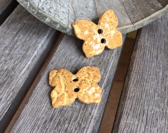 2 Ceramic Gold Shino Butterfly Buttons   Lace Imprinted Goldenrod Stoneware buttons, Set of 2   Collectible Buttons   Ceramic Button Accent
