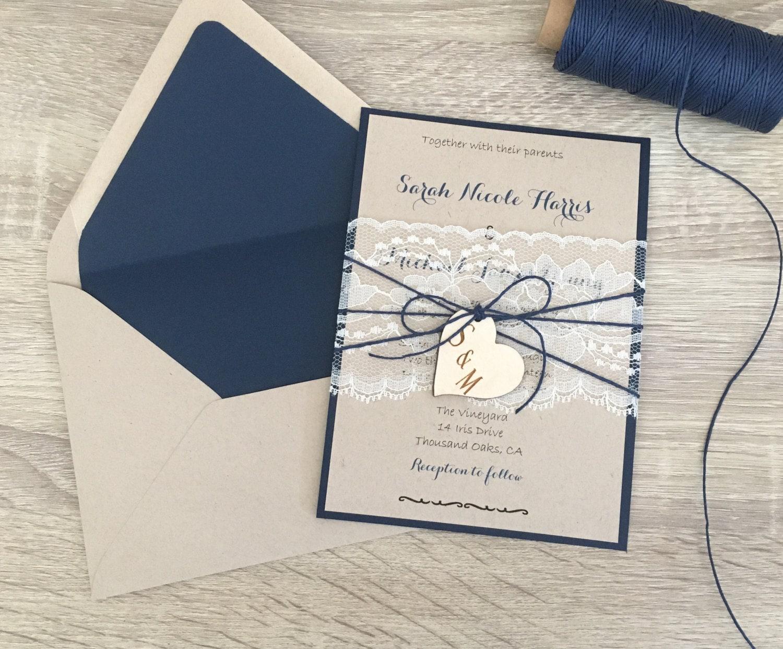 Navy Blue Wedding Invitations: Navy Blue Wedding Invitation Lace Wedding Invitation Rustic