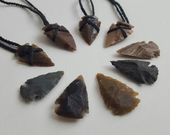 Two Arrow Head Necklace Hemp Stone Wrap- Tribal/ Boho/Shaman/ Native American/ Savage/ Festival/ Spirit/ Macrame.