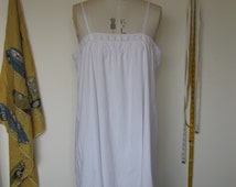 1920s Flapper white cotton slip with embroidery and lace
