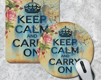 Quote Mousepad, Keep Calm and Carry On, Vintage Mouse Mat, Inspirational Quote Mousepad, Floral Mouse Pad, Custom Mousepad, Office Decor