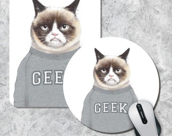 Grumpy Cat Mousepad, Geek Mouse Pad, Funny Mousepad, Animal Mousepad,  Watercolor Mouse Mat, Round Mousepad, Custom Mousepad, Funny Gift Pad