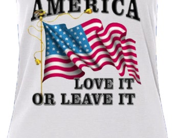 American Love It Or Leave It Ladies Flowy V-Neck Tank Top A9378A-8805