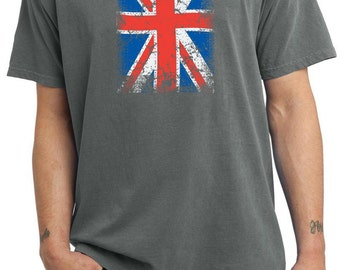 Distressed Union Jack Adult Pigment Dyed Tee T-Shirt UNIONJACK-PC099