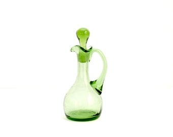 Hand Blown Glass Cruet/ Oil & Vinegar Server / Mother's Day Gift
