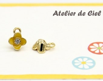 Flower Charm, Tiny Flower Charm, Tiny Enamel Flower Charm, Yellow Flower Charm, Gold Flower Charm, Yellow Veronica Flower Charm