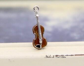 Violin Charm, Tiny Silver Violin Charm, Violin Pendant, Miniature Violin, Muscial Instrument Charm, Musician Gifts, Gift for Music Teacher