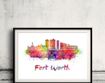 Fort Worth skyline in watercolor over white background with name of city - Poster Wall art Illustration Print - SKU 2079