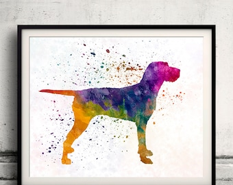 Hungarian Wirehaired Vizsla 01 in watercolor - Fine Art Print Poster Decor Home Watercolor Illustration Dog - SKU 2141
