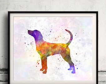 English Foxhound 01 in watercolor - Fine Art Print Poster Decor Home Watercolor Illustration Dog - SKU 1626