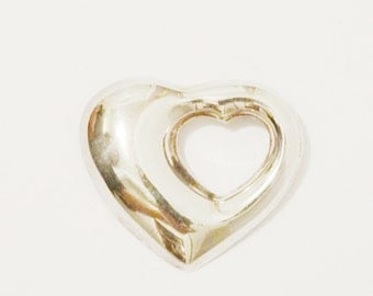 Vintage Sterling Silver Large Cutout Heart Brooch.