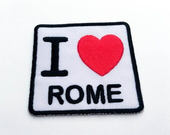 I Love ROME Iron on Patch(M1) - Text, Words, Message Iron On Patch -Size 6.1x 5.8 cm