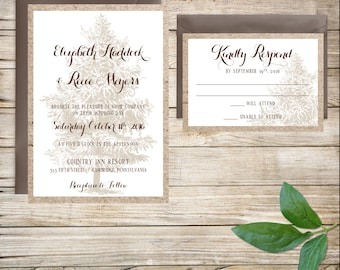 Rustic Wedding Invitations, Wedding Invitation Suite, Pine Tree Wedding, Forest Wedding Invitation, Woodland Wedding Invitation