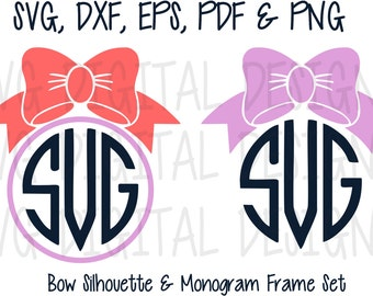 bow monogram svg files, circle bow svg digital design - cutting files for silhouette & cricut - SVG dxf eps cuttable BOW Monogram frames