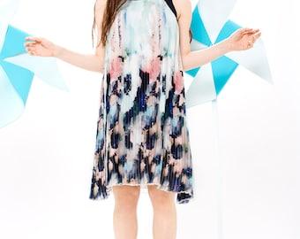 Printed chiffon dress - Chiffon dress - Pleated dress - Short bridesmaid dress - Homecoming dress - Short prom dress -Light Blue Rotem dress