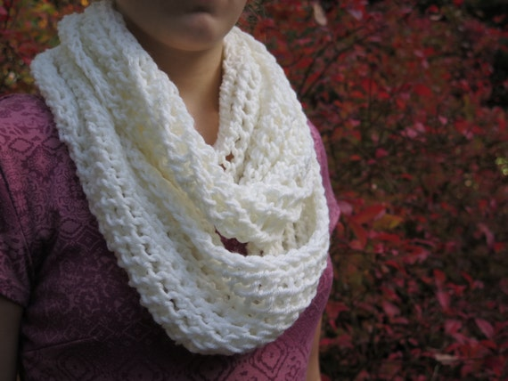 Knitting Pattern Lace Infinity Scarf : Items similar to Knitted Lace Infinity Scarf - Lace Cowl ...