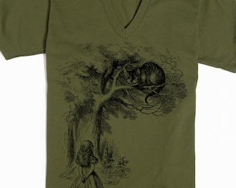 Cheshire Cat Shirt V-neck - Alice in Wonderland Shirt - Cheshire Cat Smile - American Apparel Vneck - Men's Tshirt - Women's Tee
