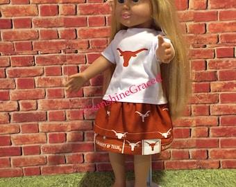 "18"" doll Texas Longhorns outfit, handmade outfit, Longhorn logo  doll clothes, Longhorn skirt"