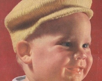Knitted Newsboy Little Jack Horner Newsie Baby Hat Cap Knitting Pattern Instant Download