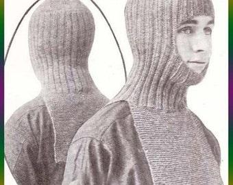 PDF Knit Helmet in One Piece Knitting Pattern Ski Hood Hat Instant Download