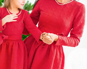 Matching christmas dresses, family outfits, mother and daughter dresses, child dress, elegant dress, evening dress, evening gown, girl dress