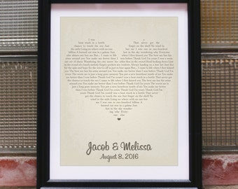 Wedding Vow Gift Custom Wedding Vow Gift Personalized Wedding Gift for Wife Unique Song Lyrics Wall Art Poem Art for Friends Heart Map Print