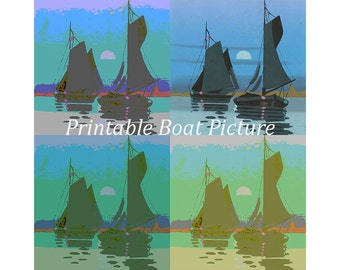 Digital Boat Picture.  Downloadable printable images. Blues/Green/Lilac. 8x8inch picture.