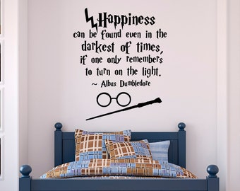Harry Potter Wall Decal Quote Happiness Can Be Found Even- Hogwarts Wall Decal Harry Potter Vinyl Sticker Nursery Teens Room Kids Decor Q054