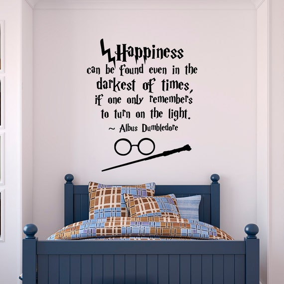 Harry Potter Wall Decal Quote Happiness Can Be Found Even - Wall decals harry potter
